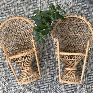 Mini rattan vintage peacock chairs.